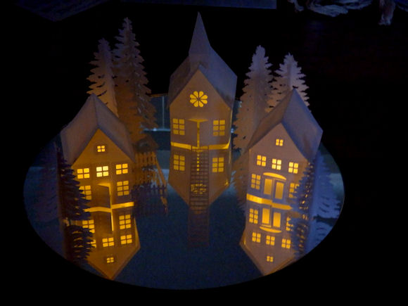 3d Tea Light Village And Church Kate S Paper Creations