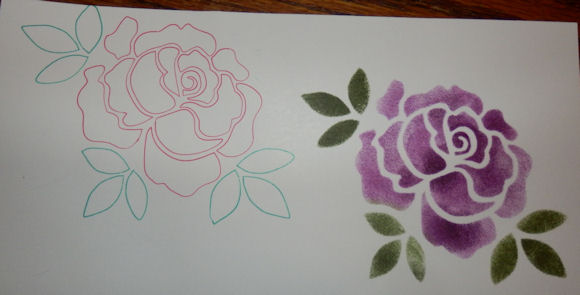 Rose sketched and stnciled